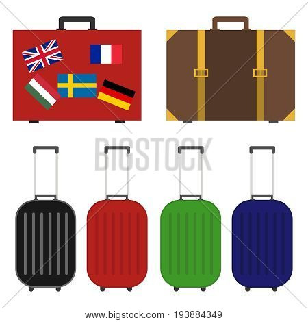 Suitcase for travel a set of suitcases for travel a suitcase with flags. Flat design vector illustration vector.