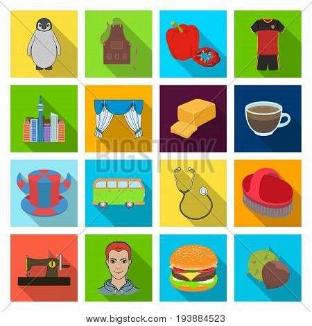 restaurant, nature, fauna and other  icon in flat style., industry, business, sport icons in set collection