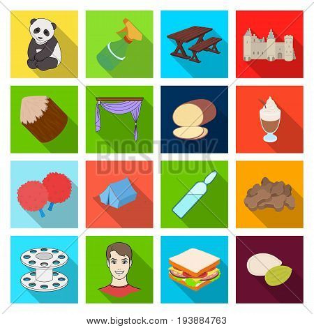 , textiles, history, business and other  icon in flat style.peel, tourism, nature icons in set collection.