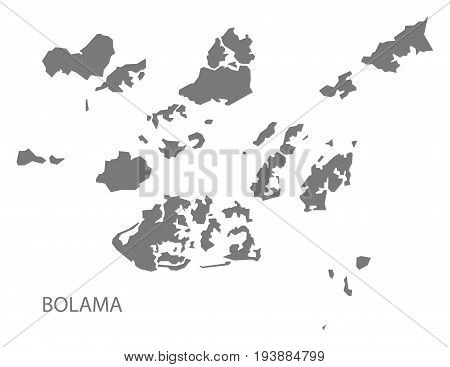 Bolama Guinea-Bissau map grey illustration silhouette shape