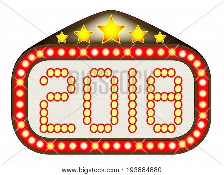 A movie theatre or theatre marquee with the text '2018'