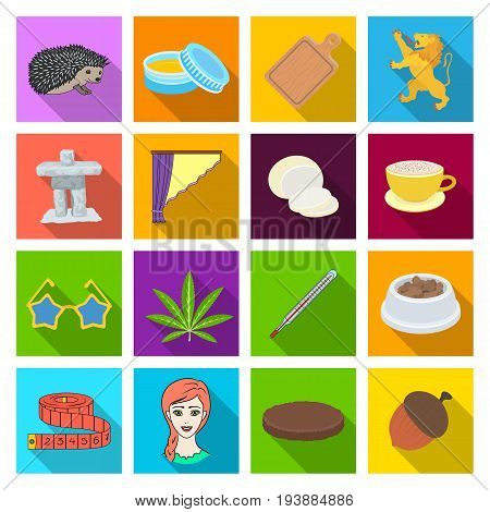 medicine, business, tourism and other  icon in flat style.nature, textiles, leisure, icons in set collection.