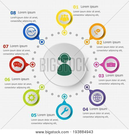 Infographic template with customer service icons, stock vector