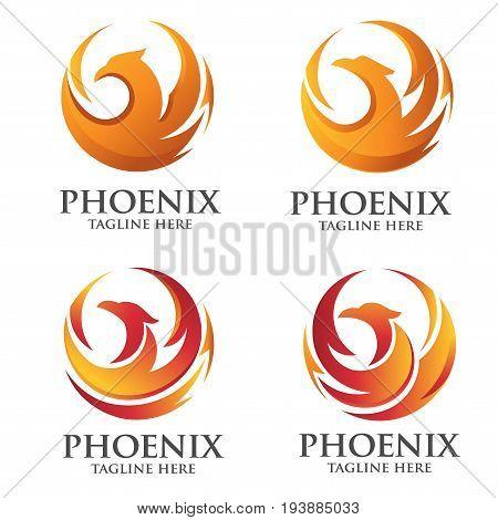 elegant phoenix circle logo set,modern and luxury vector of phoenix logo concept