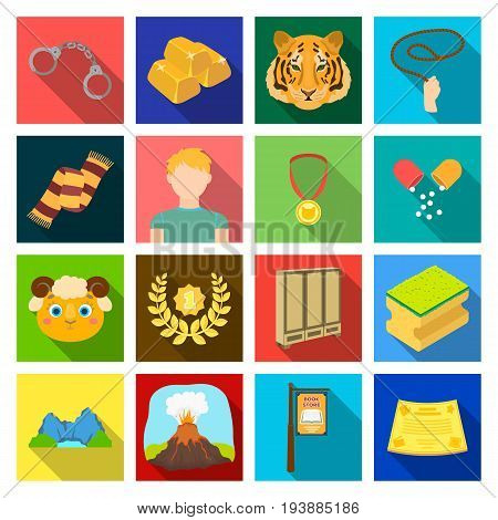 textiles, hobby, nature and other  icon in flat style.medicine, tourism, competitions icons in set collection.