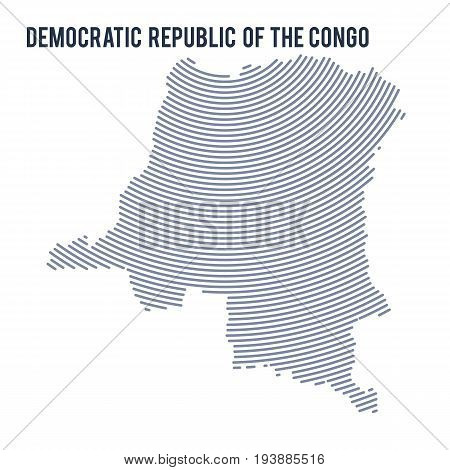 Vector Abstract Hatched Map Of Democratic Republic Of The Congo With Curve Lines Isolated On A White