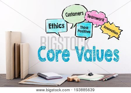 Core Values Concept. Books and stationery on a wooden office desk.