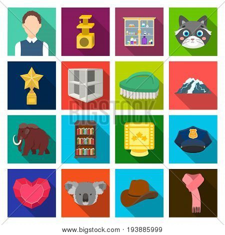 history, tourism, travel and other  icon in flat style.science, sport, achievements icons in set collection.