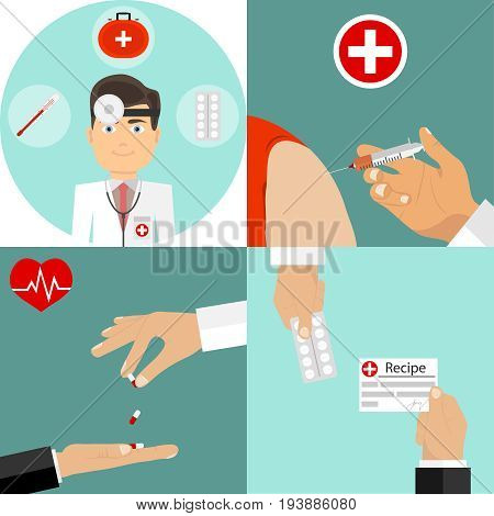 Medical processes. The doctor makes an injection the pharmacist gives the medicine. Medical kit. Flat design vector illustration vector.