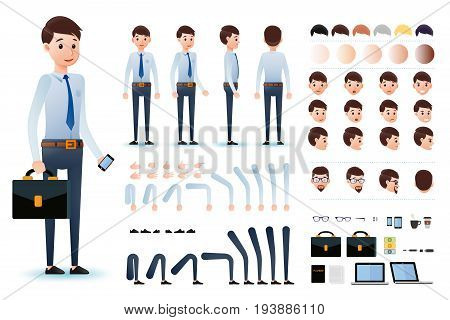 Male Clerk Character Creation Kit Template with Different Facial Expressions, Hair Colors, Body Parts and Accessories. Vector Illustration.