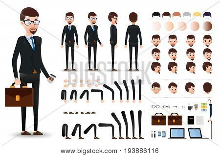 Businessman Character Creation Kit Template with Different Facial Expressions, Hair Colors, Body Parts and Accessories. Vector Illustration.