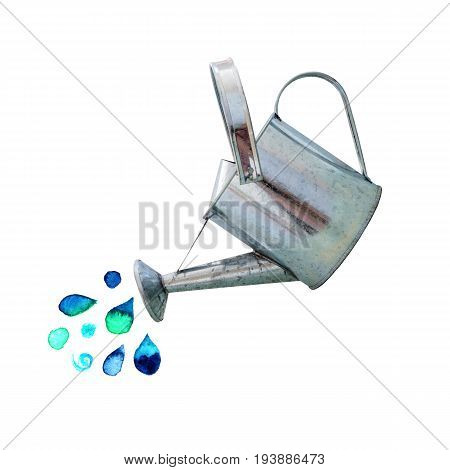 A photo of an old watering can with teal blue watercolor water drops, on a white background with a place for text