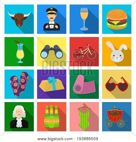 trade, textiles, industry and other  icon in flat style., rest, tourism, restaurant icons in set collection