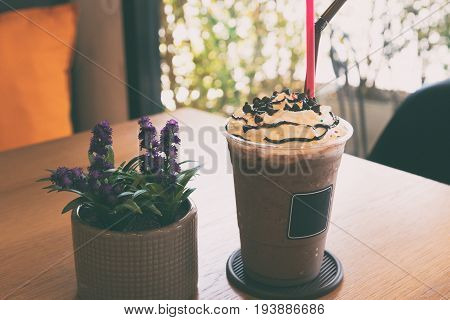 Chocolate Frappe With Whipped Cream