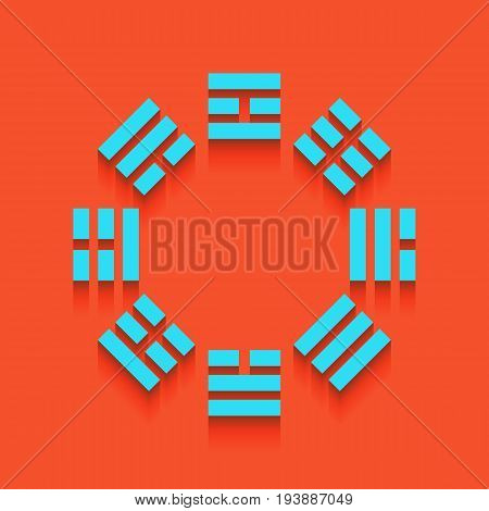 Bagua sign. Vector. Whitish icon on brick wall as background.