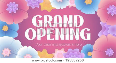 Grand opening vector illustration. Template banner with flowers in blossom background and sign for opening event