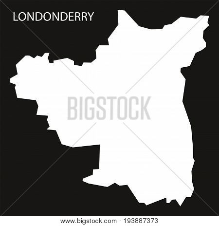 Londonderry Northern Ireland Map Black Inverted Silhouette Illustration