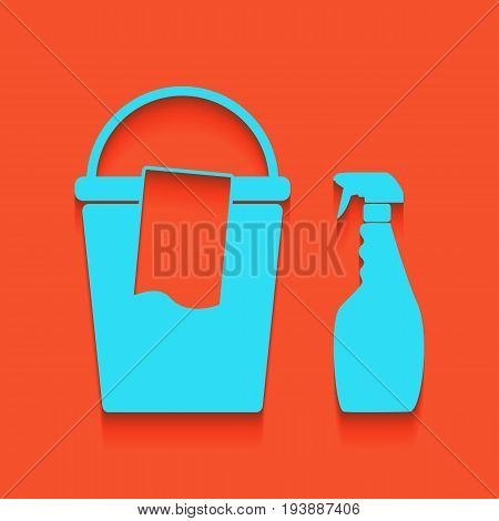 Bucket and a rag with Household chemical bottles. Vector. Whitish icon on brick wall as background. poster