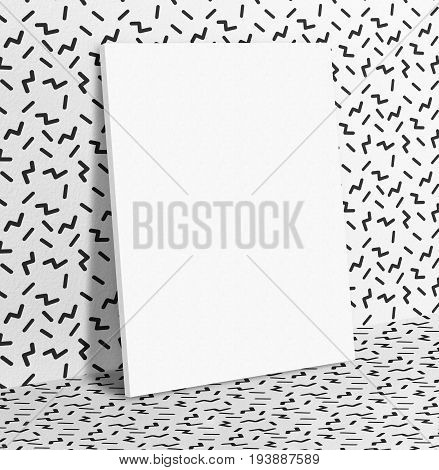 Blank White Paper Poster Leaning At Black And White With Retro Wallpaper Pattern Wall And Floor,mock
