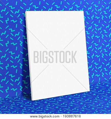 Blank White Paper Poster Leaning At Vivid Blue With Retro Wallpaper Pattern Wall And Floor,mock Up T