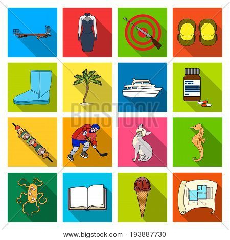business, leisure, tourism and other  icon in flat style.drawing, architecture, textiles, icons in set collection