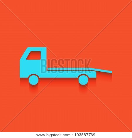 Service of evacuation sign. Wrecking car side. Car evacuator. Vehicle towing. Vector. Whitish icon on brick wall as background.