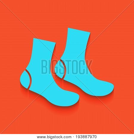 Socks sign. Vector. Whitish icon on brick wall as background.