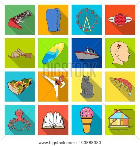 progress, tourism, textiles and other  icon in flat style. sport, hygiene, medicine, icons in set collection