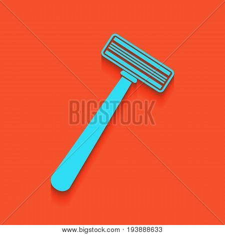 Safety razor sign. Vector. Whitish icon on brick wall as background.