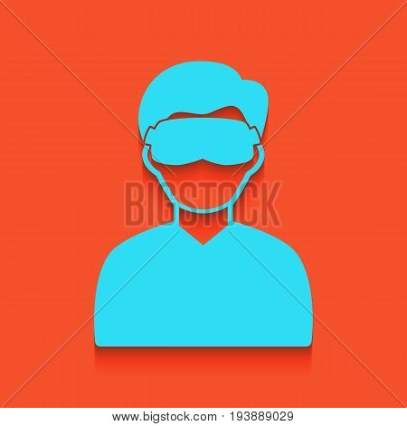 Man with sleeping mask sign. Vector. Whitish icon on brick wall as background.