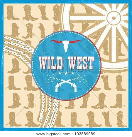 Wild West Card With Cowboy Boots Decoration And Text