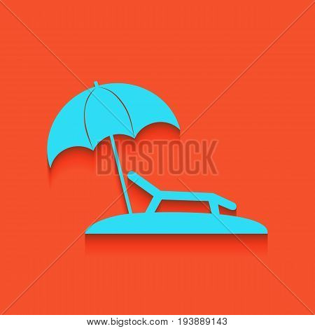 Tropical resort beach. Sunbed Chair sign. Vector. Whitish icon on brick wall as background.