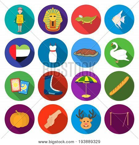 textiles, cafes, hobbies and other  icon in flat style.tourism, leisure, business, icons in set collection