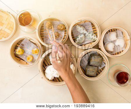 Top view of eating dim sum