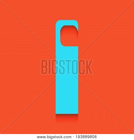 Hotel Door hanger tag sign. Vector. Whitish icon on brick wall as background.