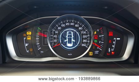 car interior dashboard details, all pictograms on