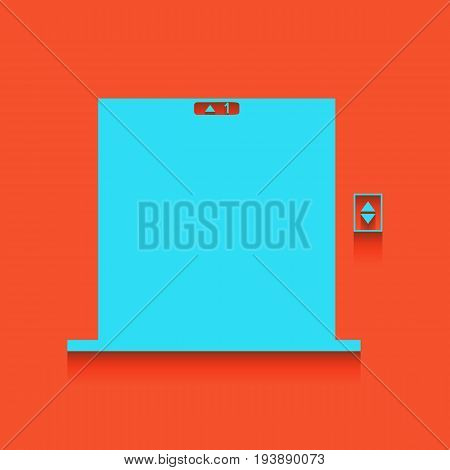 Elevators door sign. Vector. Whitish icon on brick wall as background.