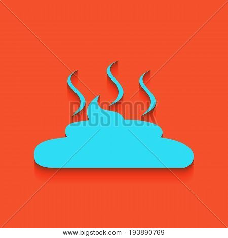 Simple Poop sign illustration. Vector. Whitish icon on brick wall as background.