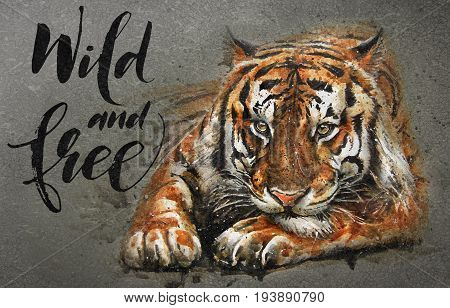 Tiger Wild and Free, watercolor, predator, poster, print, wildlife