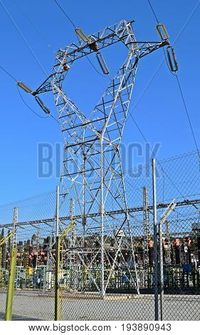 Metallic Towers electricity of high tension in Barcelona Spain
