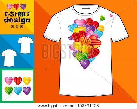 Template T-shirt with an trendy design: Heart made of colorful splash hearts.