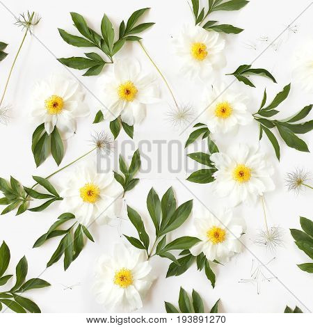 Empty paper in the middle of floral pattern made of white peony flowers green leaves and pasque-flower seeds on white background. Top view flat lay.