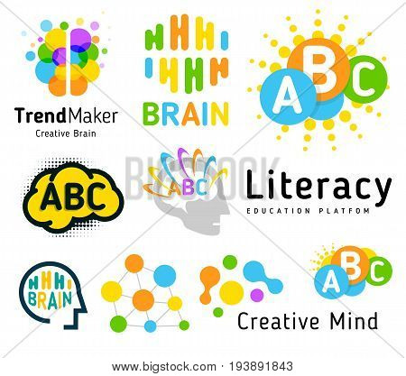 Creative brain. Genius school. Human development. Skill up. Linear vector logo set
