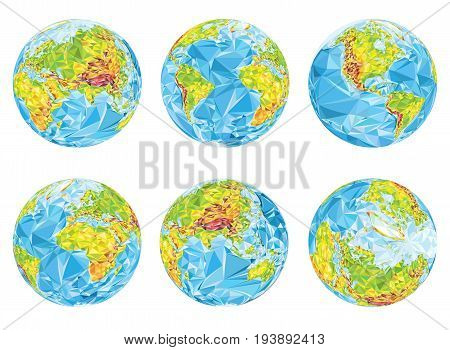 vector geographical globes in different positions illustration