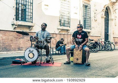 Performers Of Street Artists During The Busker Festival In Ferrara