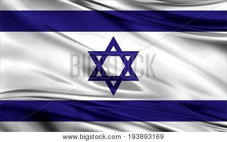 Realistic flag of Flag of Israel on the wavy surface of fabric. This flag can be used in design