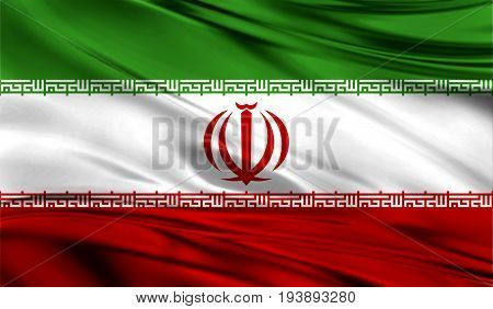 Realistic flag of Flag of Iran on the wavy surface of fabric. This flag can be used in design