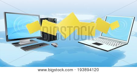 Computer phone file transfer sync concept of files or folders moving between a desktop computer and laptop