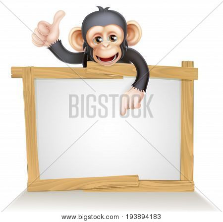 Cute cartoon chimp monkey like character mascot peeking above a sign, pointing at it and giving a thumbs up