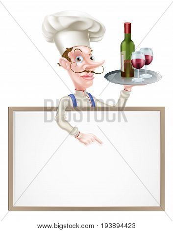 Cartoon Chef holding wine bottle and glasses above a sign or wine menu